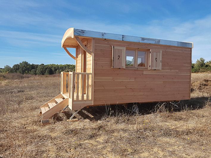 intallation roulottes bois sur terrain
