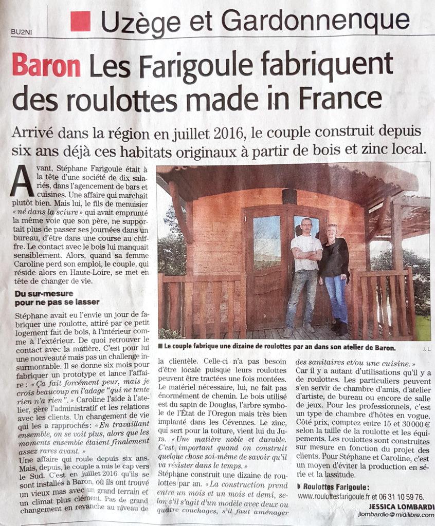 article roulottes Farigoule midi libre nimes