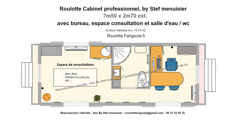 Plan roulotte cabinet bien etre By Stef menuisier Roulottes Farigoule